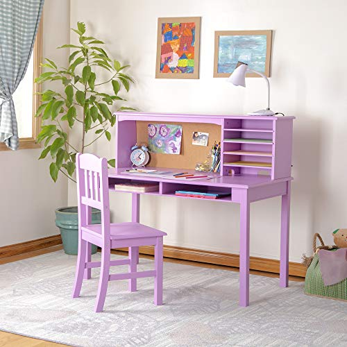 Guidecraft Children's Media Desk and Chair Set – Lavender: Student's Study Computer Workstation with Hutch and Shelves, Wooden Kids Bedroom Furniture