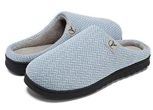 VIFUUR Zapatillas Hombre Mujer de casa Espuma de Memoria de Alta Densidad Cálido Interior Lana al Aire Libre Forro de Felpa Suela Antideslizante Zapatos Azul 42/43
