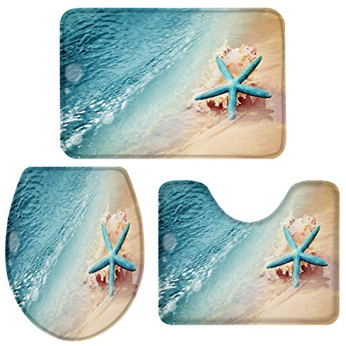 Heart Pain Bathroom Rug Set 3 Piece Beach Starfish Non-Slip Backing Bathroom Mat Anti-Skid U-Shape Contoured Toilet Mat Absorbent Toilet Seat Cover Ocean Theme - Small