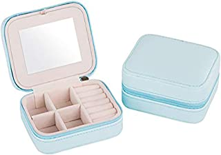 Portable Travel Jewelry box Small Jewelry Box Mirrored Holder for Rings, Earring, Necklace, Bracelet