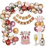 Decoraciones Cumpleaños Mujeres, Oro Rosa Pancarta de Happy Birthday Globos Cumpleaños Globo de Látex Corona Copa Vino Botella Vino Globo Aluminio para Niñas Mujeres Decoración de Fiesta Cumpleaños