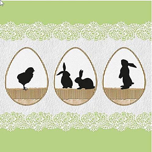 20 Servietten Schattentiere in Ostereier grün als Tischdeko für den Frühling und Ostern 33x33cm