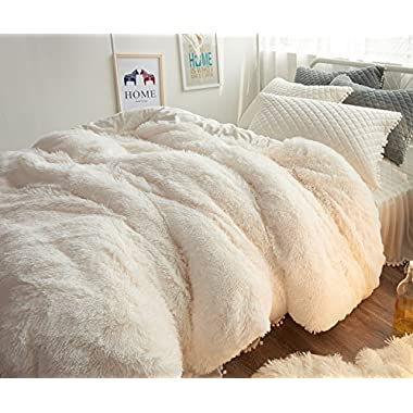 Ceruleanhome 3pc 100% Velvet Flannel Duvet Cover Set, Solid Color, No Inside Filler, Zipper Close (Queen, White)