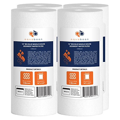 Aquaboon 4-Pack of 5 Micron 10' Big Blue Sediment Water Filter Replacement Cartridge | Whole House Sediment Filtration | Compatible with W15-PR, HD-950, WFHD13001B, GXWH35F, GXWH30C, HF45-10BLBK10PR