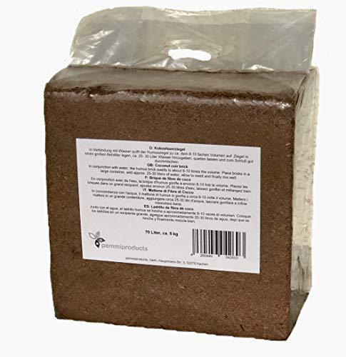 Mattone in fibra di cocco pressato, 70 litri, circa 5 kg, (0,21 EUR / litro), terriccio senza torba, 100% puro, per i terrari