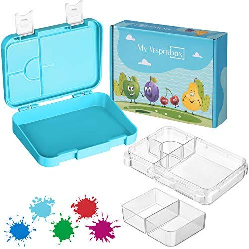 My Vesperbox – Bento Box Kinder - Lunchbox mit 4+2 Fächern - extrem robust und auslaufsicher – Brotdose – Brotbox ideal für Kindergarten und Schule (Blau-Weiß)