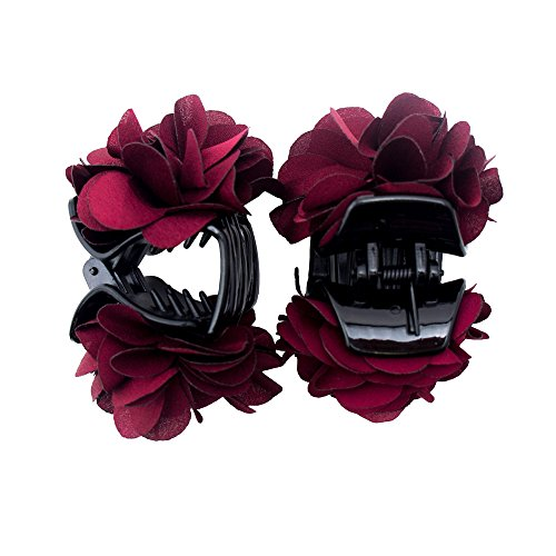 HAND H0968 Deep Red Elegante élégant Satin Jasmine Flower Bulldog Clips de Cheveux 70 mm x 50 mm Pack de 2