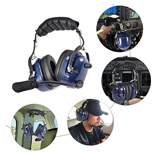 popchilli Luchtvaart Helm, Nieuwe Pilot Helm Voor Vliegtuig Piloot, Geluidsonderdrukkende Helm, Telescopische Arm, Luchtvaart Pilot Headset Geluidsonderdrukking GA Dual Plugs MP3 Muziek Input
