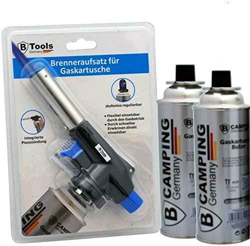 TronicXL Lötbrenner + 2 Kartuschen Aufsatz für Butan Gas Kartuschen - Löt brenner Gasbrenner Gasanzünder Lötlampe mit Piezozündung Bajonett Anschluss Set