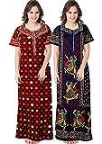 Women Soft Cotton Nightwear Gown Nighties Sleepwear Maxi Dress1 (Multicolor) Combo of 2 Peice(rb)