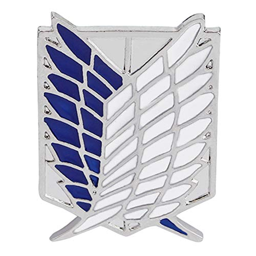 ALTcompluser Anime Attack on Titan Brosche Pin Flügel der Freiheit Zubehör für Kleider Umhang Kragen Broschennadeln Bekleidungs Tasche Rucksack(Silber+ Blaue Flügel)