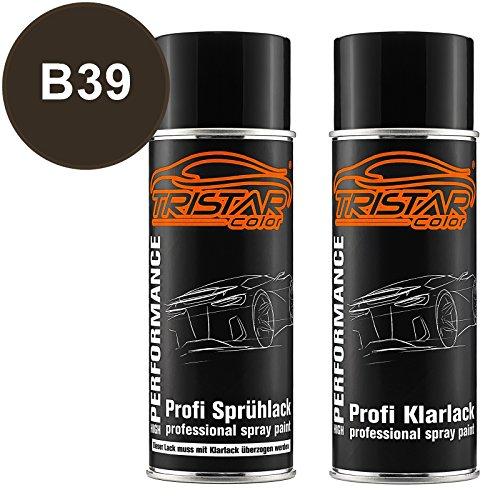 TRISTARcolor Autolack Spraydosen Set für Bayerische Motoren Werke/BMW B39 Mineralgrau Metallic/Mineral Grey Metallic Basislack Klarlack Sprühdose 400ml