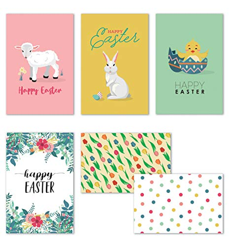 Easter Cards 2021, Easter Cards Bulk with Envelopes, 36 Easter Cards for Kids, Happy Easter Greeting Cards Assortment, Spring Note Cards - 36 Pack, 4 x 6 Inches
