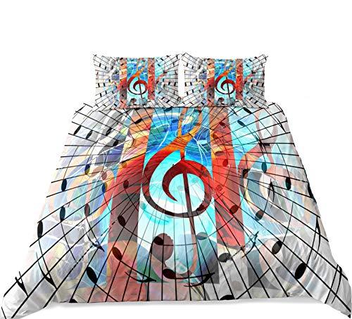 Set Biancheria da Letto con Stampa di Note Musicali 3D Arcobaleno 2/3 Pezzi Copripiumino Musica Artistica Creativa Cielo Stellato Colorato Decor Copriletto per Bambini Adulti (Modello 6,220_x_240_cm)