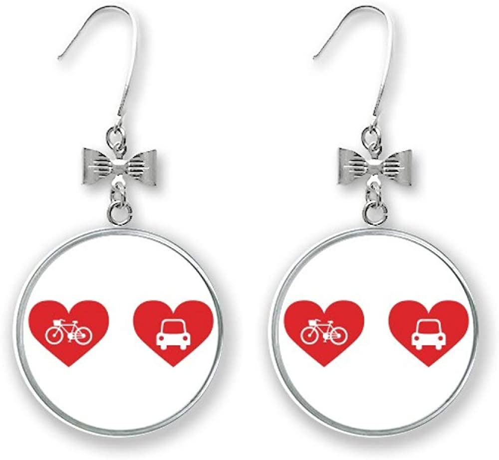 Bicycle Car Red Heart Pattern Max Limited time cheap sale 76% OFF Bow Stud Earrings Pierced Hoo Drop