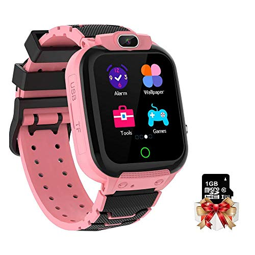 Kinder Armbanduhr IP65 Wasserdichter 1,44-Zoll-Bildschirm Kinderuhr mit Musik, Kamera, Wecker, Kalender, Taschenrechner für Jungen Mädchen Geschenke Alter 3-12 mit 1GB Micro SD-Karte, Rosa
