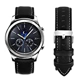 Fullmosa Compatible Samsung Galaxy 46mm/Gear S3 Frontier/Classic Watch Bands, Quick Release Leather Smart Watch Band for Garmin Vivoactive 4 and Active, 22mm Watch Band, Black + silver buckle