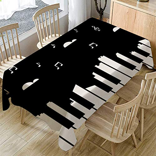 Mantel Moderno Y Sencillo con Estampado De Piano para El Hogar, Impermeable Y Anti-Escaldado, Mantel Rectangular para Mesa De Café