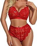 Set lingerie da donna sexy reggiseno + slip a vita alta pizzo decorazione fiocco profondo scollo a V abiti 2 pezzi body, Rosso, L