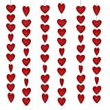Valentines Day Red Heart Hanging String Garland, 60pcs Red Hearts Felt Garland Valentine Decorations, Wedding Anniversary Birthday Party Supplies Home Window Background 6 pack, 90.6 inches