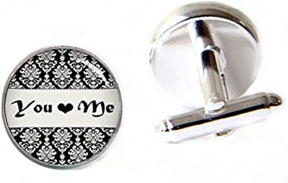 Black White Damask Cufflinks, Monogram Cufflinks, Personalized Cufflinks, Custom Wedding Cufflinks