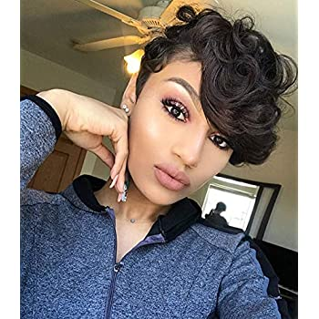 Amazon Com Bei Short Black Pixie Wigs With Bangs Short Curly Synthetic Wigs For Black Women Elegant Short Hairstyles Beauty