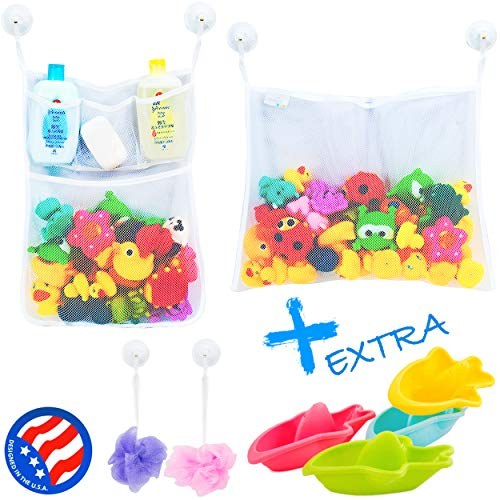 2 x Mesh Bath Toy Organizer + 6 Ultra Strong Hooks – The Perfect...