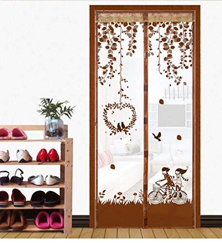 90 * 210 cm Mesh Gaze Tür Anti-Moskito-Vorhang Langlebig Haltbar Hart Gaze Mesh Magnetischer Türstopper-Frankreich_Kaffee_90X210Cm