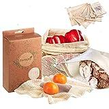 EarthMe 7er Set Wiederverwendbare Gemüsebeutel Zum Plastikfreien Einkaufen - Bio Baumwolle - 6 Obstbeutel Inkl. XL Brotbeutel& 2 E-Books - Robuste & Umweltfreundliche Obst- und Gemüsenetze