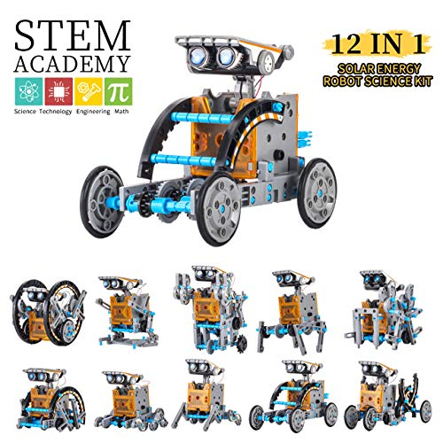 Giocattolo Solare Robot Kit DIY 12-in-1 Robots Giocattoli Educativi l\'edilizia 190 Pezzi Kit Esperimento Scientifico STEM Set di Ingegneria Alimentato dal Sole per Bambini Superiore ai 10 Anni