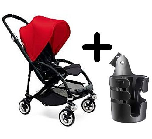 Best Buy! Bugaboo Bee3 Stroller, Red/Black + Bugaboo Cup Holder