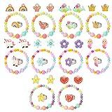 Hifot Anillos Clip Pendientes Pulseras niña 30 Piezas, Unicornio Sirena Mariposa Flores Arco Iris Princesa Joyas Set, Cumpleaños Regalo Fiesta Accesorios