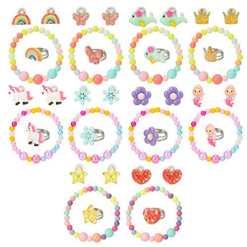 Hifot kinderringe Clip Ohrringe Armband mädchen 30 Stück, Einhorn Meerjungfrau Schmetterling Blumen Regenbogen Prinzessin Schmuck Set, Kinderschmuck Geschenk