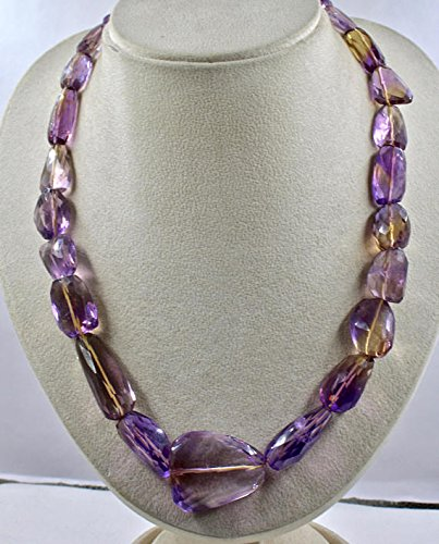 Natural AMETRINE FACETTED TUMBLE Cabochon Multi Color Stone Beads Necklace 22 INCHES 33 MM TO 21 MM