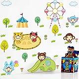 GCCQT Lindo parque de atracciones de animalesEtiqueta de la pared,Extraíble Etiqueta de la...