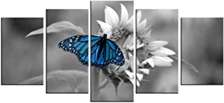 LevvArts - Black and White Flower Canvas Wall Art Blue Butterfly on Sunflower Picture Painting 5 Panel Still Life Art Prints for Home Kitchen Living Room Bedroom Decoration Ready to Hang