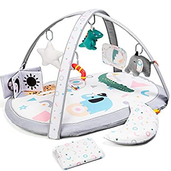 Lupantte 7 in 1 Baby Play Gym Mat with 2 Replaceable Washable Mat Covers Baby Activity Play Mat with 6 Toys Visual Hearing Touch Cognitive Development for Infant and Toddler Thicker Non Slip