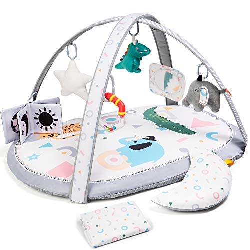 Baby Play Gym with 2 Replaceable Washable Mat Covers, Lupantte Visual, Hearing, Touch, Cognitive Developmental Baby Activity Play Mat, with 6 Toys for Infant to Toddler, Larger, Thicker, Non Slip.