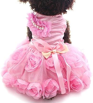 meizhouer Pet Dog Princess Dress Tutu Rosette&Bow Dresses Cat Puppy Skirt Clothes (XL)
