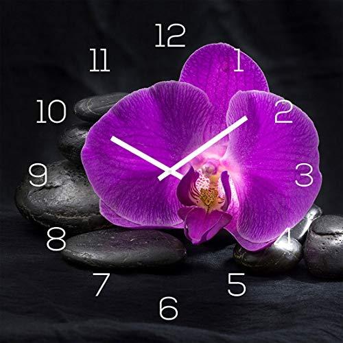 levandeo Wanduhr Glas 30x30cm Glasuhr Uhr Glasbild Rosa Orchidee Schwarz Deko Wellness Feng Shui Blüte Steine
