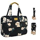 Superdünne & Erweiterbare Laptoptasche Handtasche Damen 14-15 Zoll, wasserdichte & Diebstahlsichere Umhängetasche Aktentasche, Geschenke für Frauen. (3,7L-10,3L),Weiße Pfingstrose