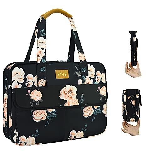 Ultradünne und Erweiterbare Laptoptasche Handtasche Damen 14-15 Zoll, wasserdichte und Diebstahlsichere Umhängetasche Aktentasche, Geschenke für Frauen. (3,7L-10,3L),Weiße Pfingstrose