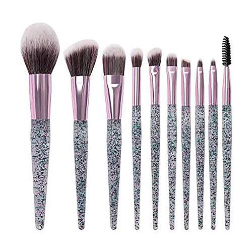 Lfny-bag Make-Up Pinsel, 10 Stück Professionelle Premium Crystal Quicksand Make-Up Pinsel High-End Lidschatten Pinsel Set Gesichtsretusche Contouring Beauty Makeup Tools,Grau