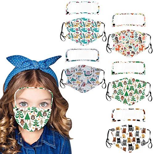 PPangUDing 5PCs Kinder Mundschutz Wiederverwendbarer Waschbarer Staubdicht Atmungsaktive Bandana Halstuch Multifunktionstuch für Junge Mädchen