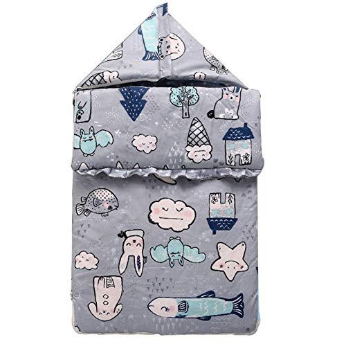 LUO'S Schlafsäcke Babyschlafsack steppte verdickter Newborn Anti-Kick Quilt, Anti-Startle mit Hut, Multifunktions-Baby Quilt Unisex (Color : World in The rain)