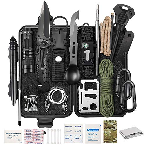 YTY Survival Gear Kit, Emergency EDC Survival Tools 69 in 1 SOS Earthquake Aid Equipment Fishing Hunting, Cool Top Gadgets Valentines Birthday Gifts for Men Dad Him Husband Boyfriend Camping Hiking
