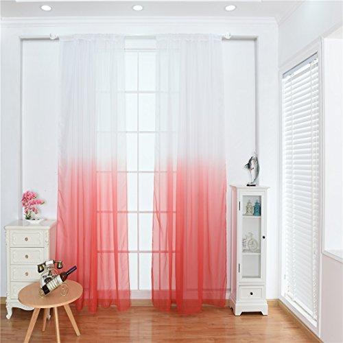 HM&DX Voile vorhänge Schlaufen, 2 Panels Lebendige Farbverlauf Gedruckt Transparent Voile gardinen Vorhänge Vorhang drapieren Home Partei-rot 100x200cm(39x79inch)