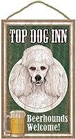 TOP DOG INN サインボード:プードル(ホワイト) ビール好きバー看板 ウッドボード製 BEER BAR MADE IN U.S.A [並行輸入品]