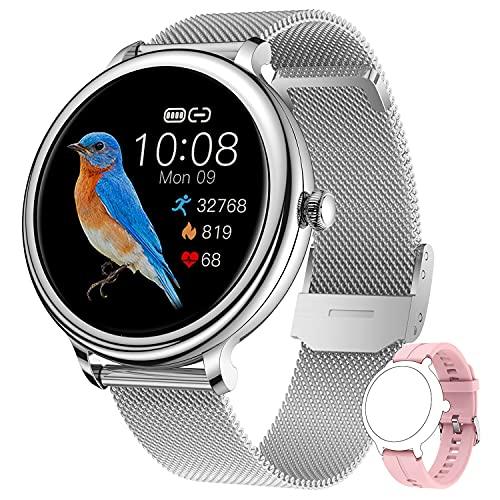 CatShin Smartwatch Donna Orologio Fitness Tracker IP68 Impermeabile Digitale Smart Watch Cardiofrequenzimetro da Polso Contapassi Calorie Sonno Notifiche Messaggi Sport per Android iOS Argento Rosa