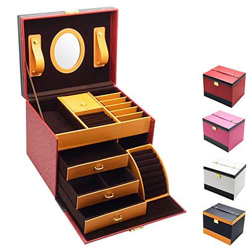 Caja de joyería, Caja de joyería portátil 24.3 * 19.5 cm, Caja de joyería portátil de Cuero PU, se Utiliza para Pulseras, Collares, Anillos, Horquillas,Rojo